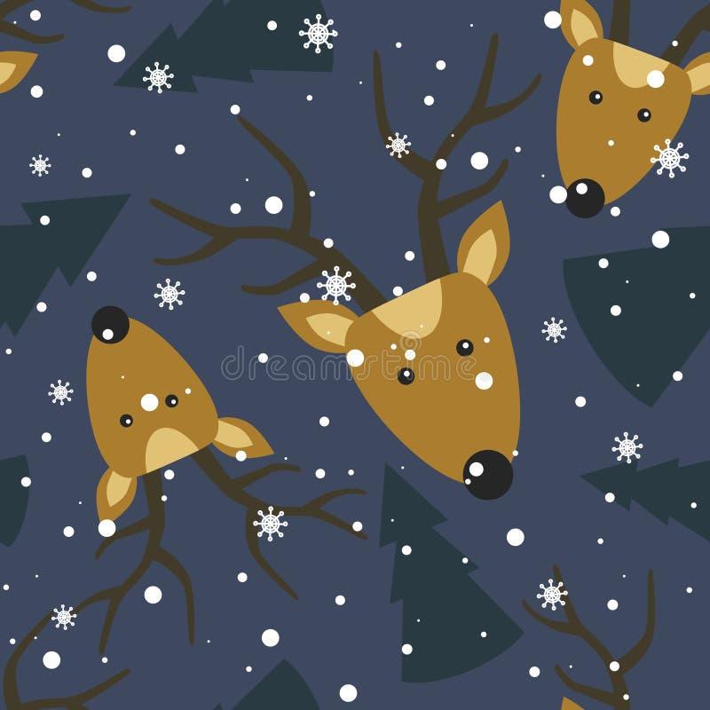 Ζωηρόχρωμο άνευ ραφής σχέδιο, deers, δέντρα έλατου, χιόνι Διακοσμητικό χαριτωμένο υπόβαθρο με τα ζώα r διανυσματική απεικόνιση