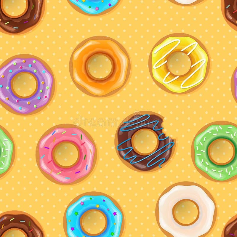 Ζωηρόχρωμο άνευ ραφής σχέδιο donuts απεικόνιση αποθεμάτων