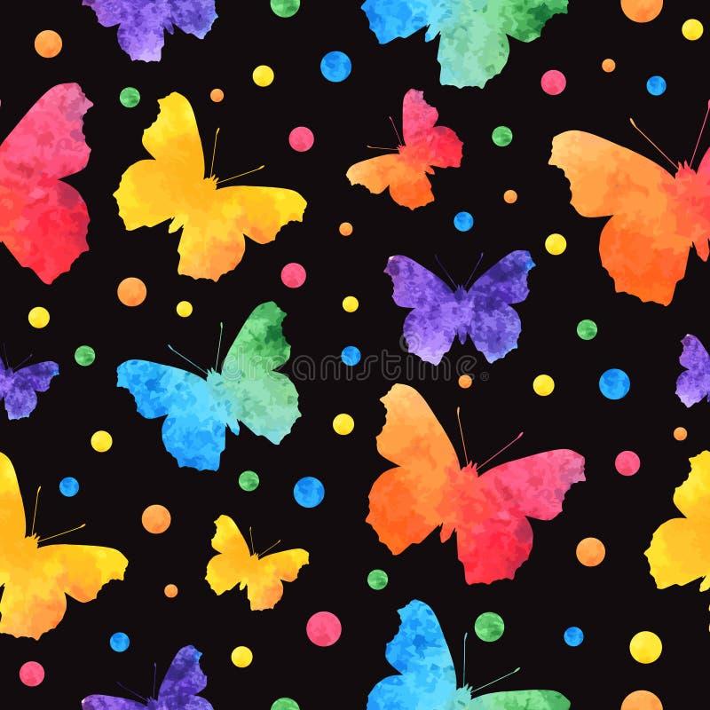 Ζωηρόχρωμο άνευ ραφής σχέδιο watercolor με τις χαριτωμένες πεταλούδες που απομονώνεται στο μαύρο υπόβαθρο EPS10 ελεύθερη απεικόνιση δικαιώματος