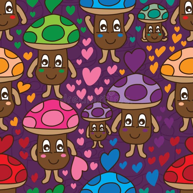 Ζωηρόχρωμο άνευ ραφής σχέδιο αγάπης μανιταριών διανυσματική απεικόνιση