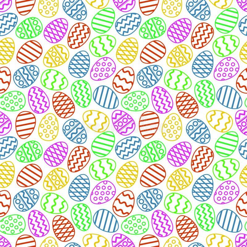 Ζωηρόχρωμο άνευ ραφής σχέδιο αυγών Πάσχας επίσης corel σύρετε το διάνυσμα απεικόνισης διανυσματική απεικόνιση
