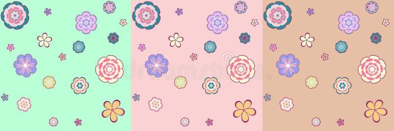 Ζωηρόχρωμο άνευ ραφής σχέδιο - αφηρημένα λουλούδια στοκ εικόνα με δικαίωμα ελεύθερης χρήσης