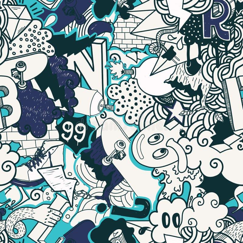 Ζωηρόχρωμο άνευ ραφής σχέδιο γκράφιτι ελεύθερη απεικόνιση δικαιώματος