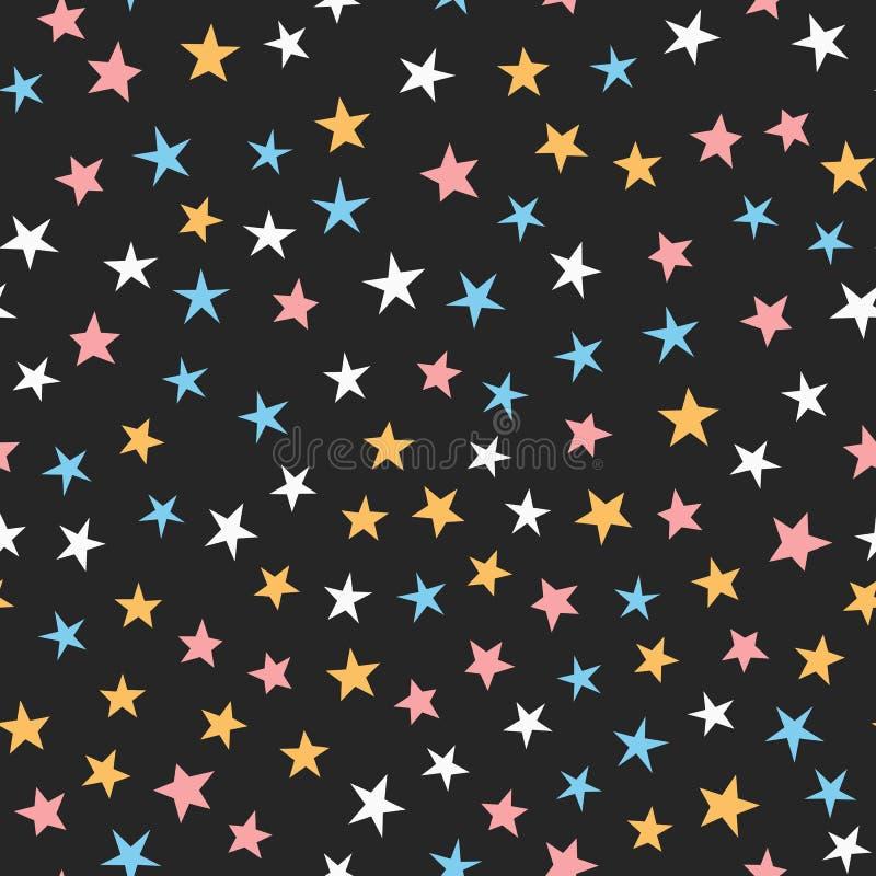 Ζωηρόχρωμο άνευ ραφής σχέδιο με τα αστέρια Άσπρο, μπλε, ρόδινο, πορτοκαλί, μαύρο χρώμα διανυσματική απεικόνιση