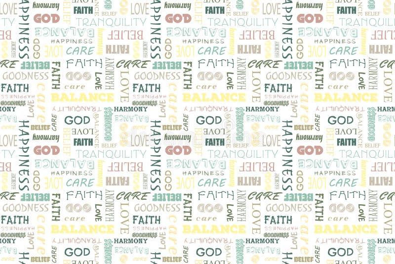 Ζωηρόχρωμο άνευ ραφής σχέδιο με τις λέξεις: αγάπη, ειρήνη, ισορροπία, ευτυχία, πίστη, Θεός, πεποίθηση, προσοχή, καλοσύνη, ηρεμία, απεικόνιση αποθεμάτων