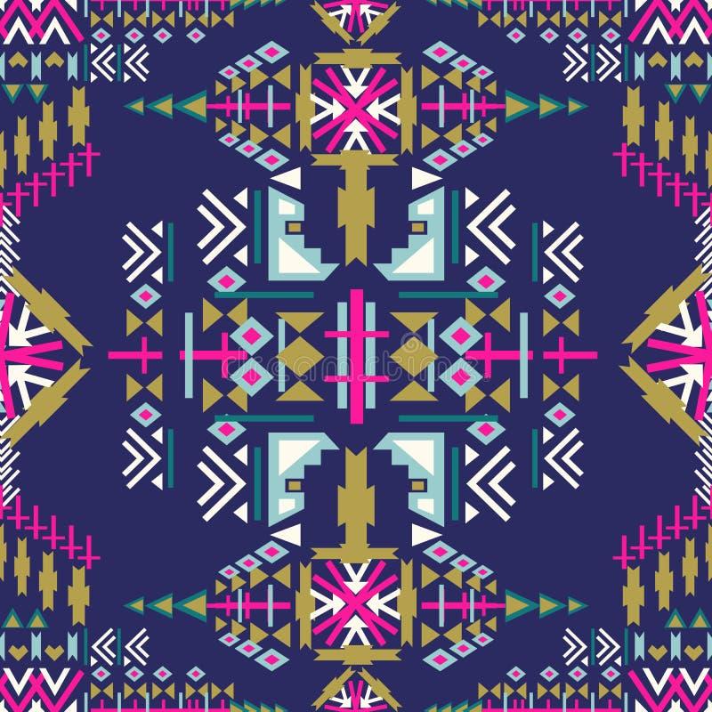 Ζωηρόχρωμο άνευ ραφής σχέδιο Ναβάχο των Αζτέκων αφηρημένη γεωμετρική τυπωμένη ύλη Εθνικό σκηνικό hipster Των Αζτέκων σκαλί, φυλετ ελεύθερη απεικόνιση δικαιώματος