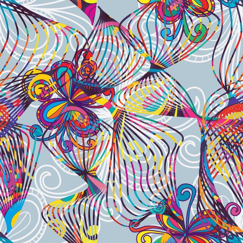 Ζωηρόχρωμο άνευ ραφής σχέδιο λουλουδιών γραμμών χορεύοντας ελεύθερη απεικόνιση δικαιώματος