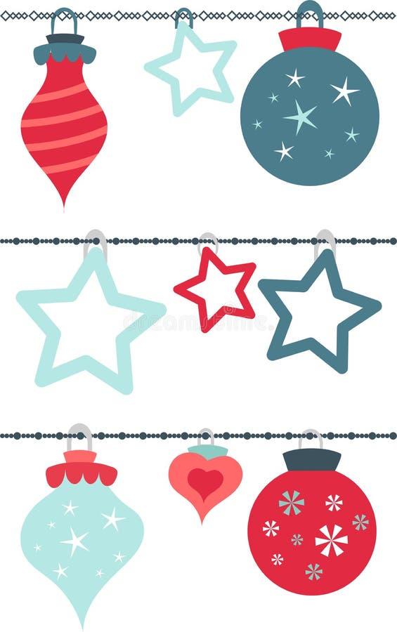 Ζωηρόχρωμο άνευ ραφής σχέδιο σφαιρών Χριστουγέννων απεικόνιση αποθεμάτων