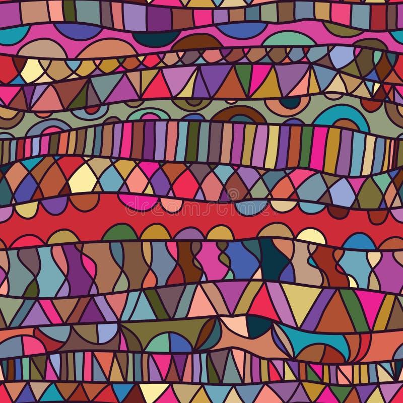 Ζωηρόχρωμο άνευ ραφής σχέδιο σχεδίων γραμμών οριζόντιο διανυσματική απεικόνιση