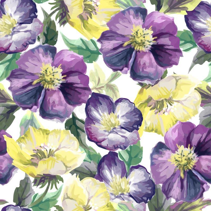 Ζωηρόχρωμο άνευ ραφής σχέδιο των λουλουδιών ελεύθερη απεικόνιση δικαιώματος