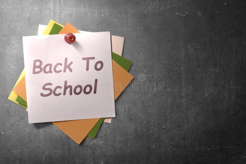 Ζωηρόχρωμο έγγραφο σημειώσεων στην καρφίτσα ώθησης με πίσω στο σχολικό κείμενο στο υπόβαθρο πινάκων στοκ εικόνα με δικαίωμα ελεύθερης χρήσης