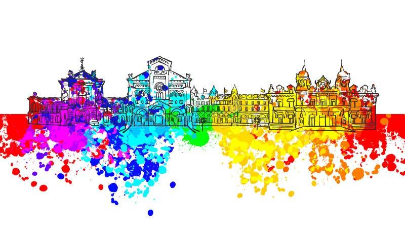 Ζωηρόχρωμο έμβλημα ορόσημων του Μονακό ελεύθερη απεικόνιση δικαιώματος