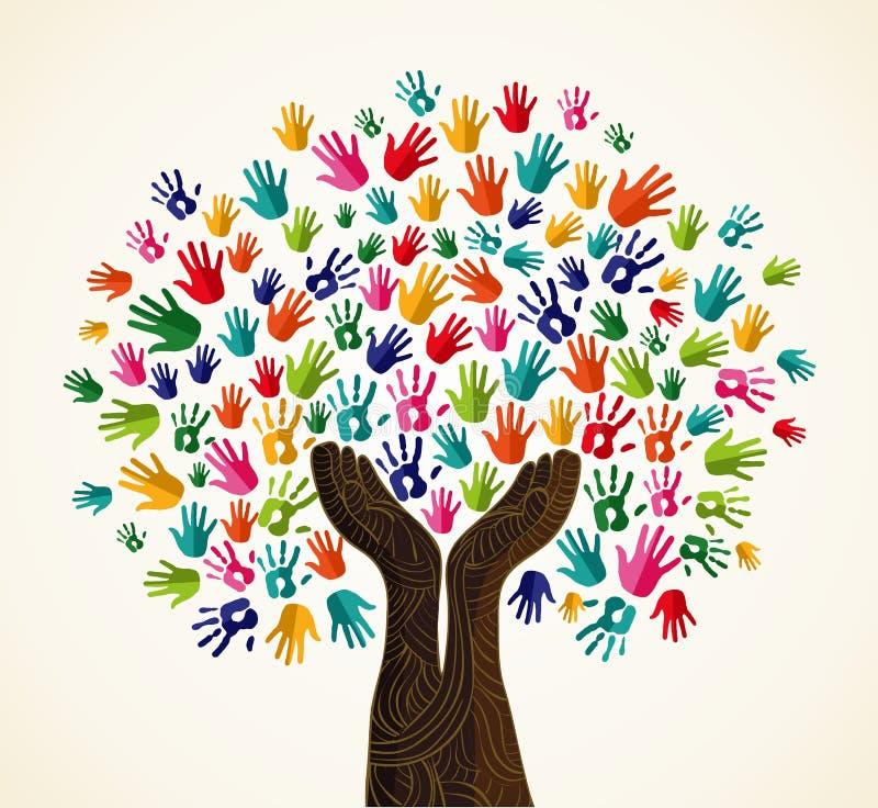 Ζωηρόχρωμο δέντρο σχεδίου αλληλεγγύης απεικόνιση αποθεμάτων