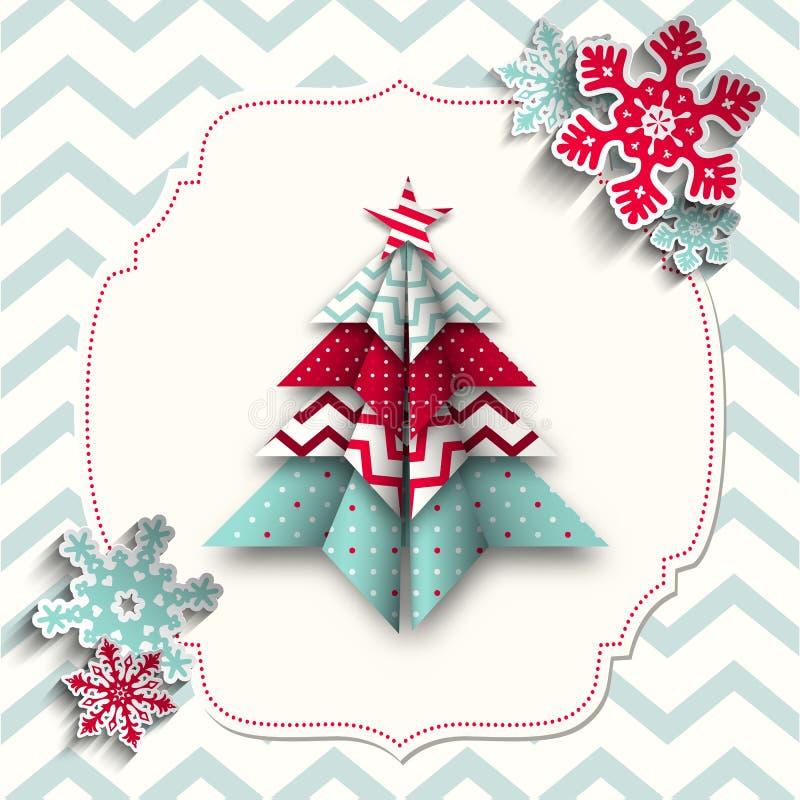 Ζωηρόχρωμο δέντρο origami με snowflakes, περίληψη απεικόνιση αποθεμάτων