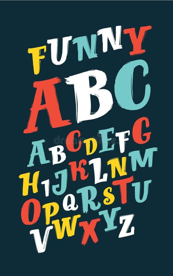 Ζωηρόχρωμο αλφάβητο βουρτσών ελεύθερη απεικόνιση δικαιώματος