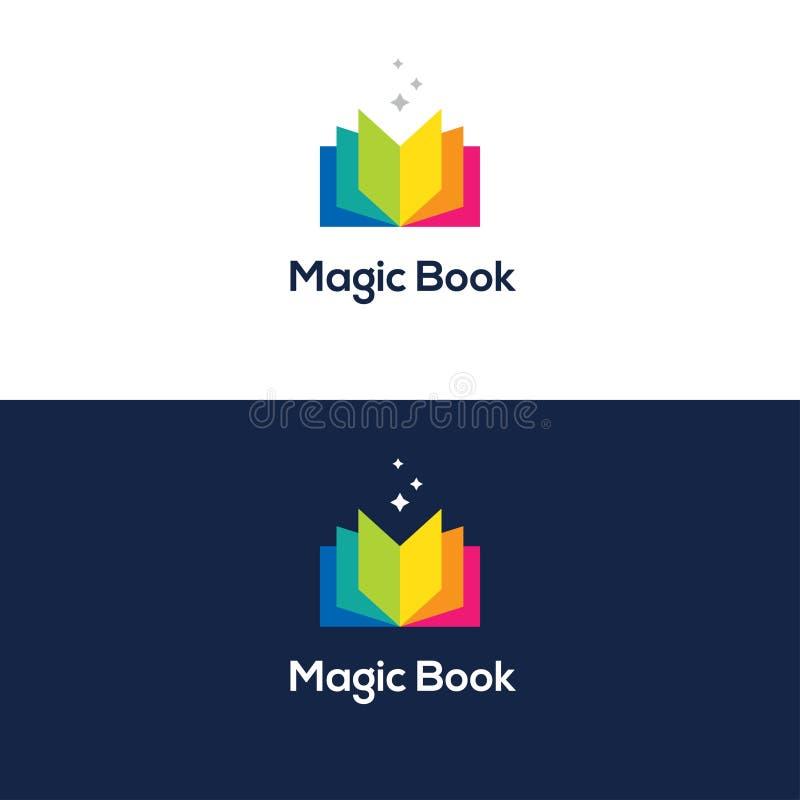 Ζωηρόχρωμο ανοικτό λογότυπο βιβλίων απεικόνιση αποθεμάτων