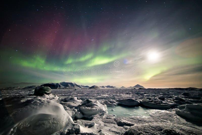 Ζωηρόχρωμο αρκτικό χειμερινό τοπίο - παγωμένο φιορδ & βόρεια φω'τα στοκ εικόνες