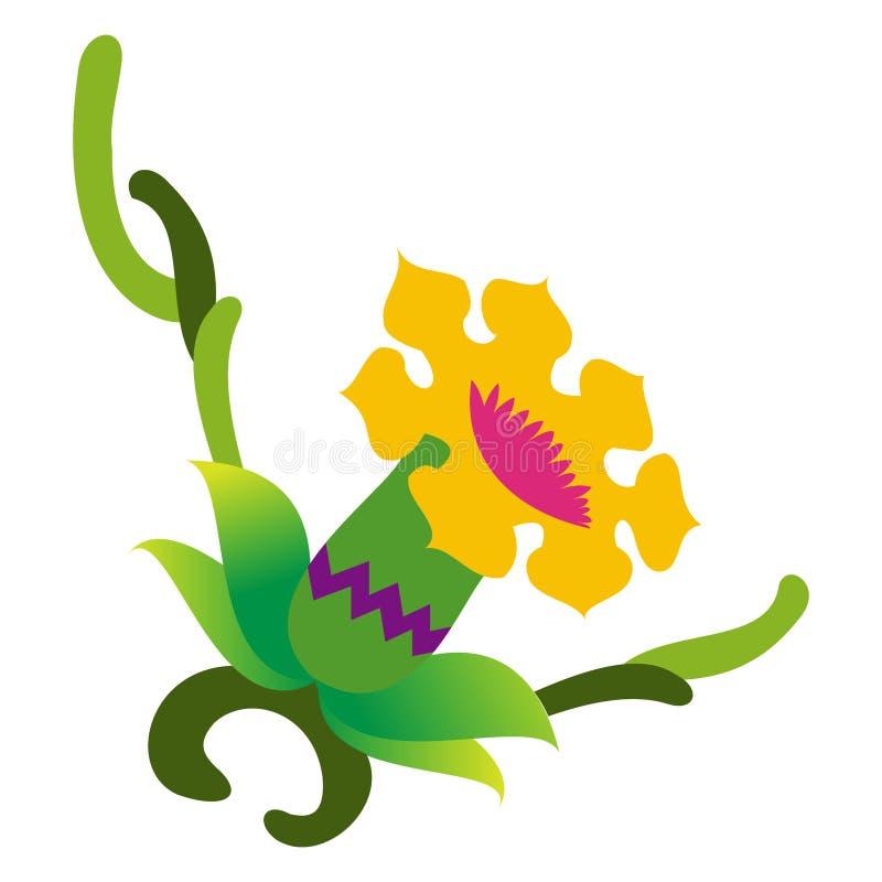 Ζωηρόχρωμο αφηρημένο διάνυσμα σχεδίου λουλουδιών διανυσματική απεικόνιση