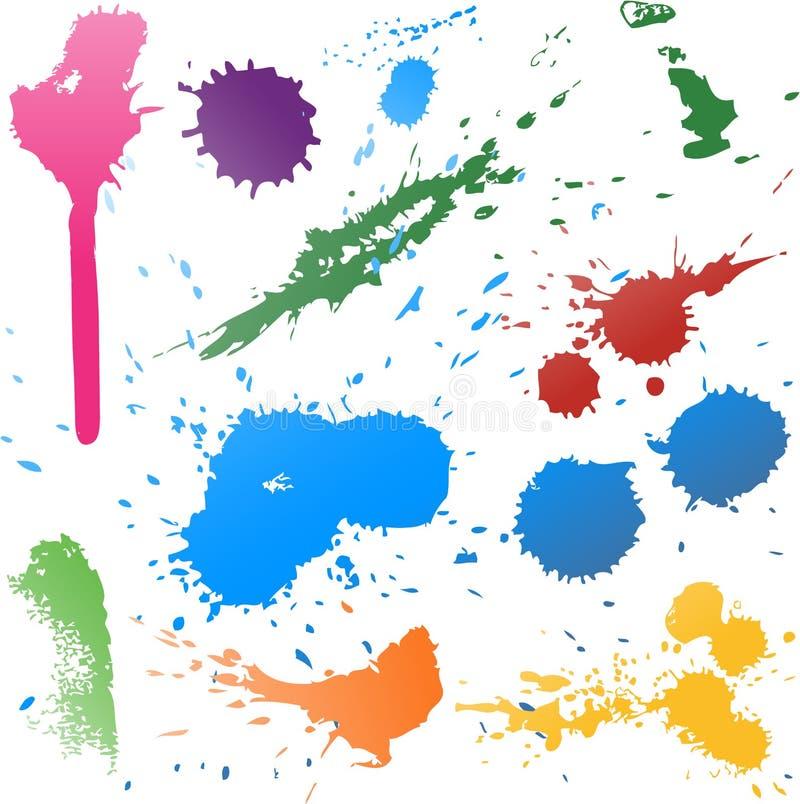 Ζωηρόχρωμο αφηρημένο διανυσματικό χρώμα μελανιού splats διανυσματική απεικόνιση