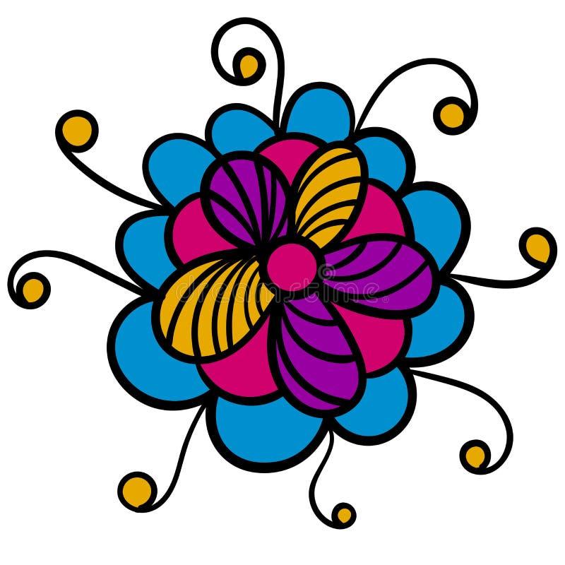 Ζωηρόχρωμο αφηρημένο λουλούδι που απομονώνεται στο λευκό ελεύθερη απεικόνιση δικαιώματος