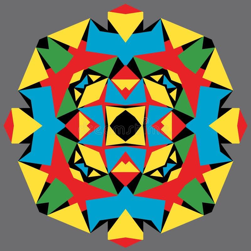 Ζωηρόχρωμο αφηρημένο συμμετρικό γεωμετρικό σχέδιο τριγώνων, mandala λουλουδιών, καλειδοσκόπιο χρώματος, διανυσματική απεικόνιση διανυσματική απεικόνιση