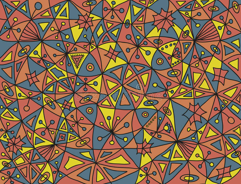 Ζωηρόχρωμο αφηρημένο σχέδιο με τέσσερα ψάρια και τα floral στοιχεία στα αποκορεσμένα χρώματα απεικόνιση αποθεμάτων
