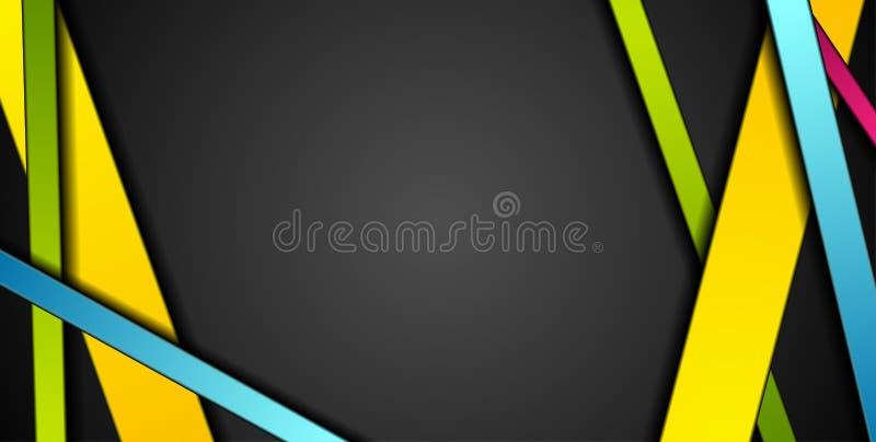 Ζωηρόχρωμο αφηρημένο υπόβαθρο τεχνολογίας λωρίδων εταιρικό διανυσματική απεικόνιση