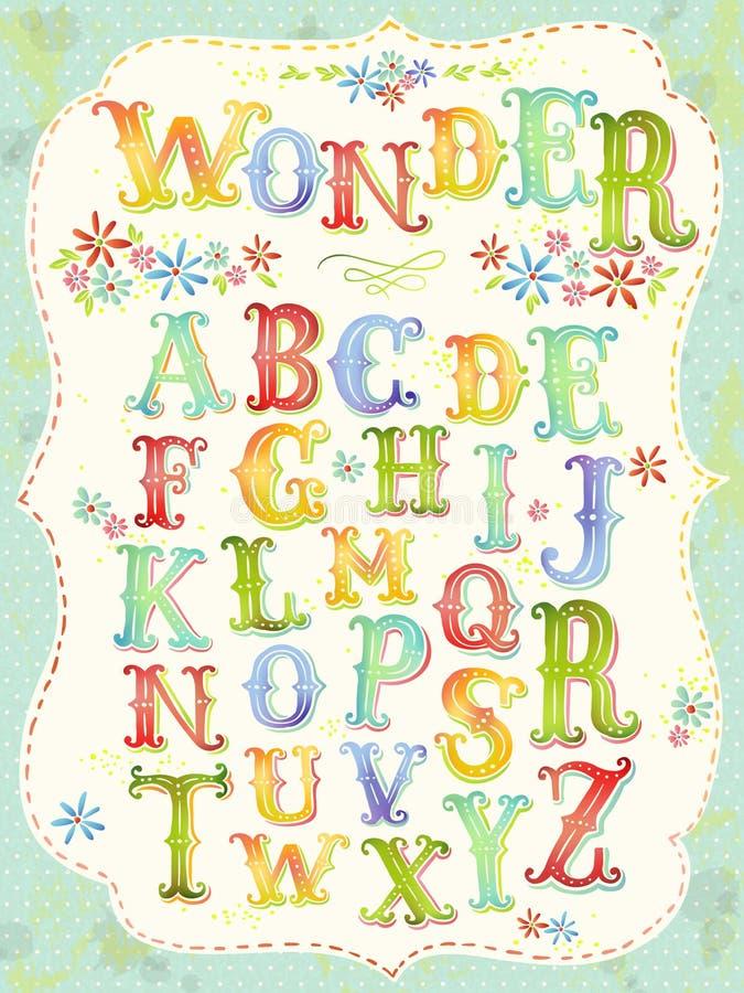Ζωηρόχρωμο αλφάβητο φαντασίας ελεύθερη απεικόνιση δικαιώματος