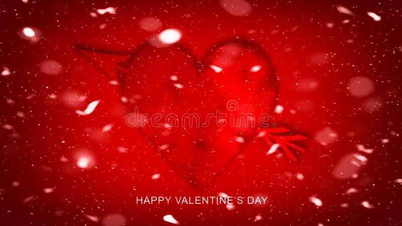 Ζωηρόχρωμο βέλος με τις καρδιές για την ευτυχή ημέρα βαλεντίνων έγγραφο αγάπης καρτών ανασκόπησης grunge Ιπτάμενο ή εκτύπωση δεξί ελεύθερη απεικόνιση δικαιώματος