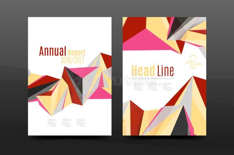 Ζωηρόχρωμο βιβλιάριο σχεδιαγράμματος, περιοδικών, ιπτάμενων ή φυλλάδιων προτύπων φυλλάδιων κάλυψης ετήσια εκθέσεων σχεδίου γεωμετ διανυσματική απεικόνιση