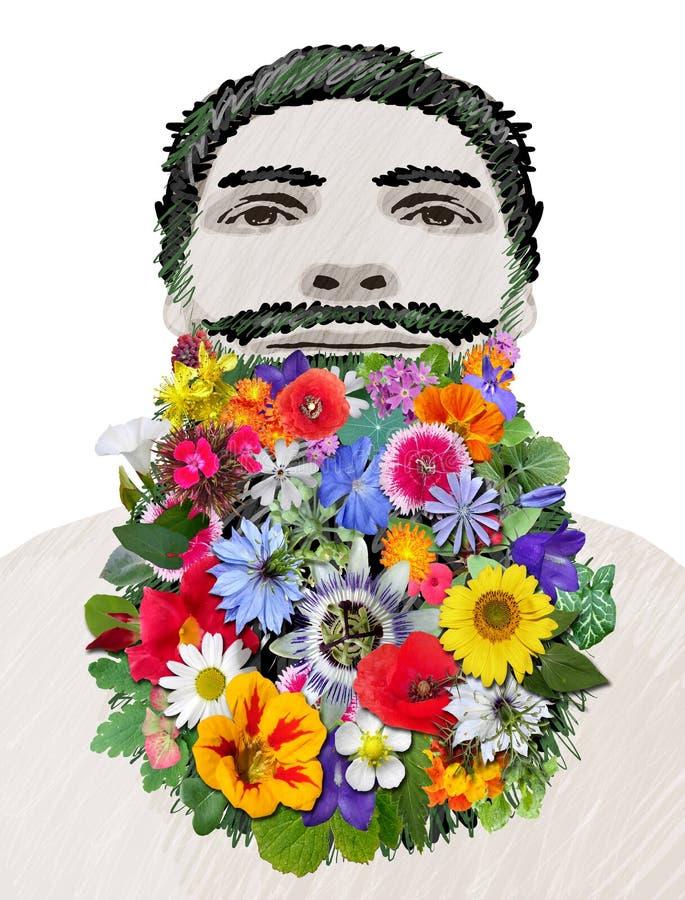 Ζωηρόχρωμο γενειοφόρο άτομο λουλουδιών διανυσματική απεικόνιση