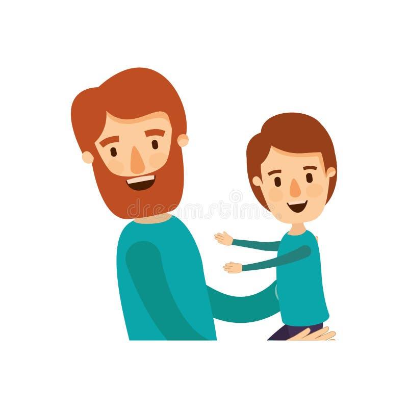 Ζωηρόχρωμο γενειοφόρο άτομο σωμάτων καρικατουρών μισό που φέρνει ένα παιδί ελεύθερη απεικόνιση δικαιώματος