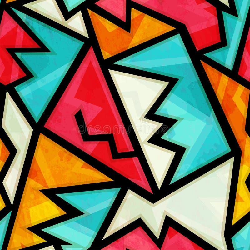 Ζωηρόχρωμο γεωμετρικό άνευ ραφής σχέδιο γκράφιτι με την επίδραση grunge απεικόνιση αποθεμάτων