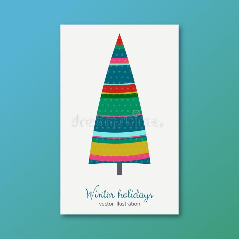 Ζωηρόχρωμο δέντρο έλατου χειμερινών διακοπών με τα αστέρια ελεύθερη απεικόνιση δικαιώματος