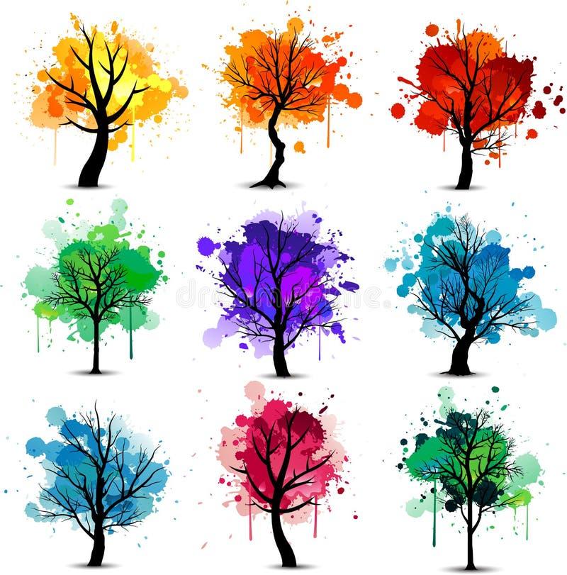 ζωηρόχρωμο δέντρο ανασκόπησης διανυσματική απεικόνιση