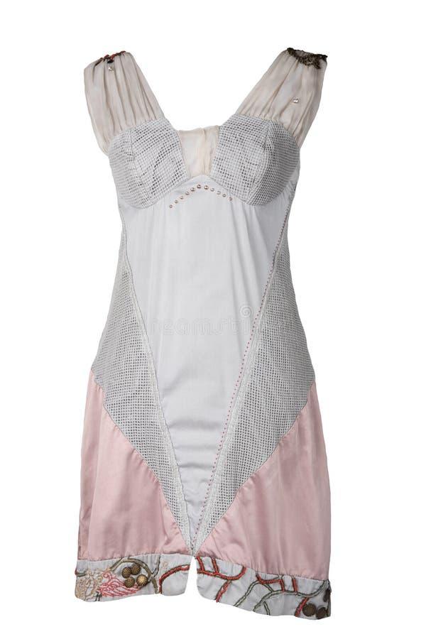 Ζωηρόχρωμο δαντελλωτός και κομψό θερινό φόρεμα που απομονώνεται στο άσπρο backgro στοκ φωτογραφία με δικαίωμα ελεύθερης χρήσης