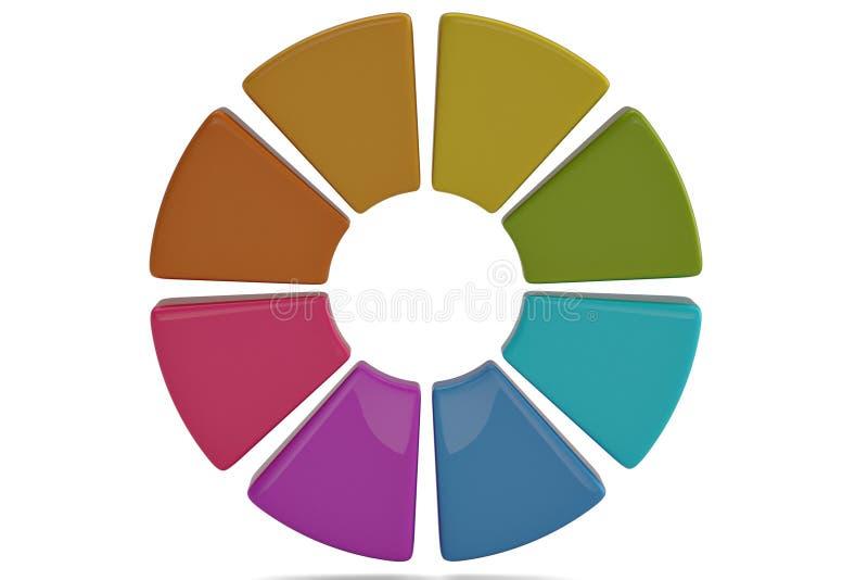 Ζωηρόχρωμο διάγραμμα κύκλων στο άσπρο υπόβαθρο τρισδιάστατη απεικόνιση απεικόνιση αποθεμάτων