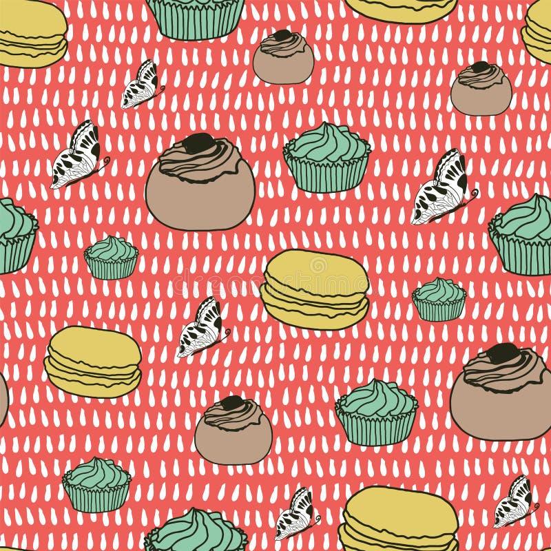 Ζωηρόχρωμο διάνυσμα υποβάθρου κέικ και πεταλούδων διανυσματική απεικόνιση