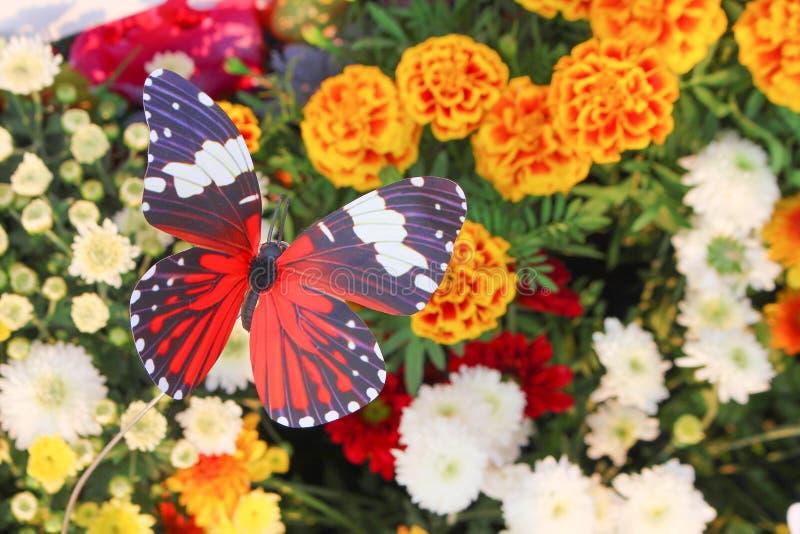 Ζωηρόχρωμο διακοσμητικό τεχνητό κόκκινο τοπ άποψης με τα άσπρα και μαύρα ριγωτά σχέδια πεταλούδων στα λουλούδια κήπων φυσικά για στοκ εικόνα