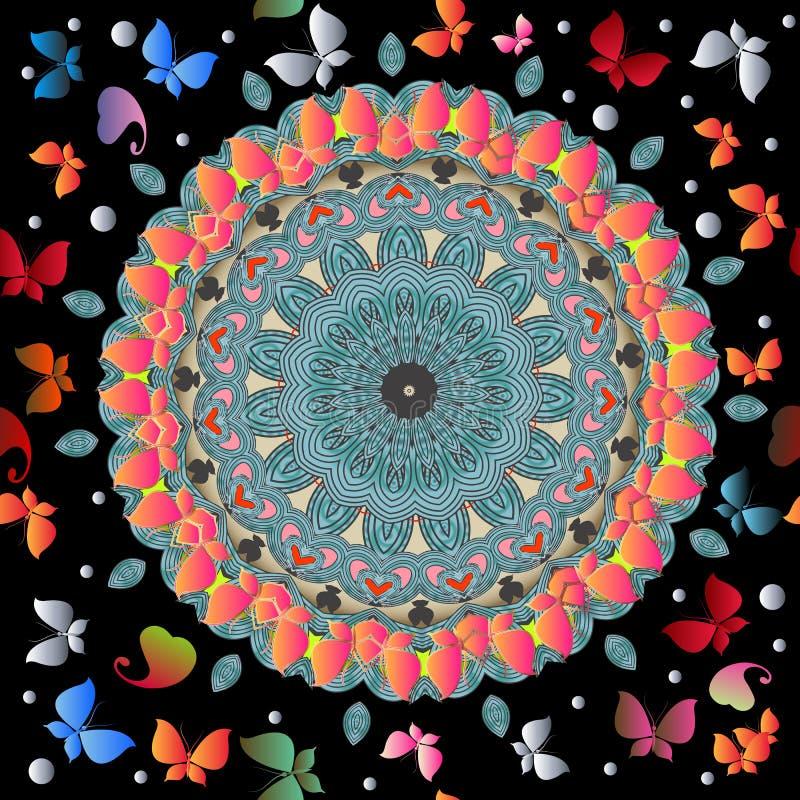 Ζωηρόχρωμο διανυσματικό άνευ ραφής σχέδιο πεταλούδων και λουλουδιών Το στρογγυλό εθνικό ύφος ακμάζει το mandala Φωτεινός διακοσμη ελεύθερη απεικόνιση δικαιώματος