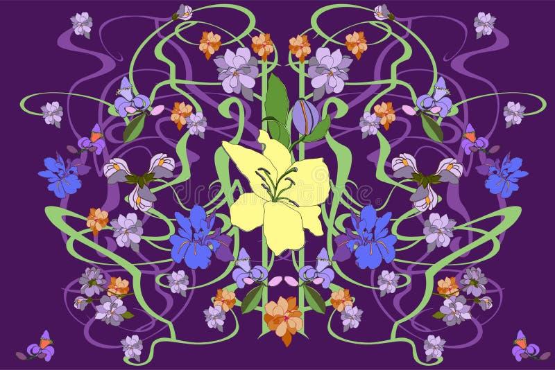 Ζωηρόχρωμο διανυσματικό άνευ ραφής σχέδιο στο ύφος Nouveau τέχνης Πλουσιοπάροχα διακοσμημένο floral υπόβαθρο απεικόνιση αποθεμάτων