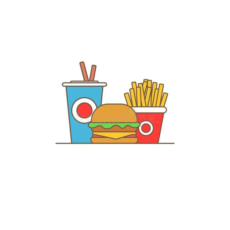 Ζωηρόχρωμο διανυσματικό λογότυπο γρήγορου φαγητού Γεύμα και εστιατόριο χάμπουργκερ γρήγορου φαγητού, νόστιμο καθορισμένο γρήγορο  απεικόνιση αποθεμάτων