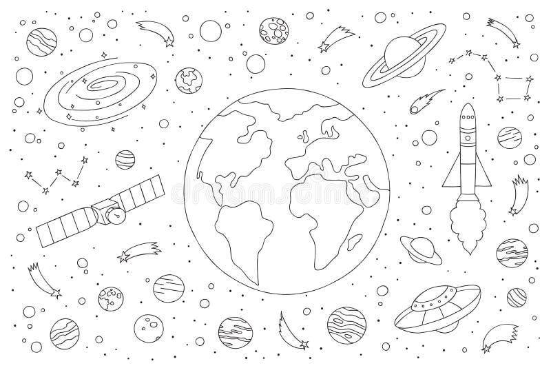 Ζωηρόχρωμο διανυσματικό συρμένο χέρι doodle σύνολο κινούμενων σχεδίων ΔΙΑΣΤΗΜΙΚΩΝ στοιχείων, αντικειμένων και συμβόλων θέματος ελεύθερη απεικόνιση δικαιώματος