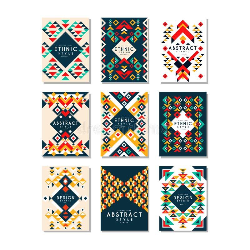 Ζωηρόχρωμο διανυσματικό σύνολο 9 προτύπων καρτών με τις γεωμετρικές μορφές Αφηρημένο εθνικό σχέδιο Στοιχεία για το φυλλάδιο, ιπτά διανυσματική απεικόνιση