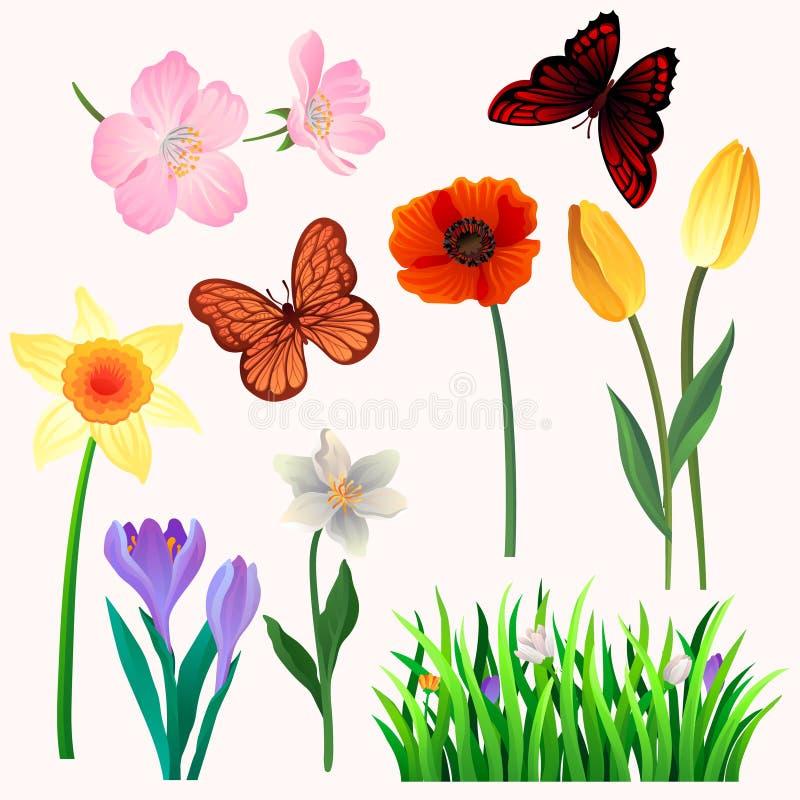 Ζωηρόχρωμο διανυσματικό σύνολο όμορφων λουλουδιών και πεταλούδων άνοιξη Ανθίζοντας εγκαταστάσεις κήπων και ιπτάμενα έντομα φυσικό απεικόνιση αποθεμάτων