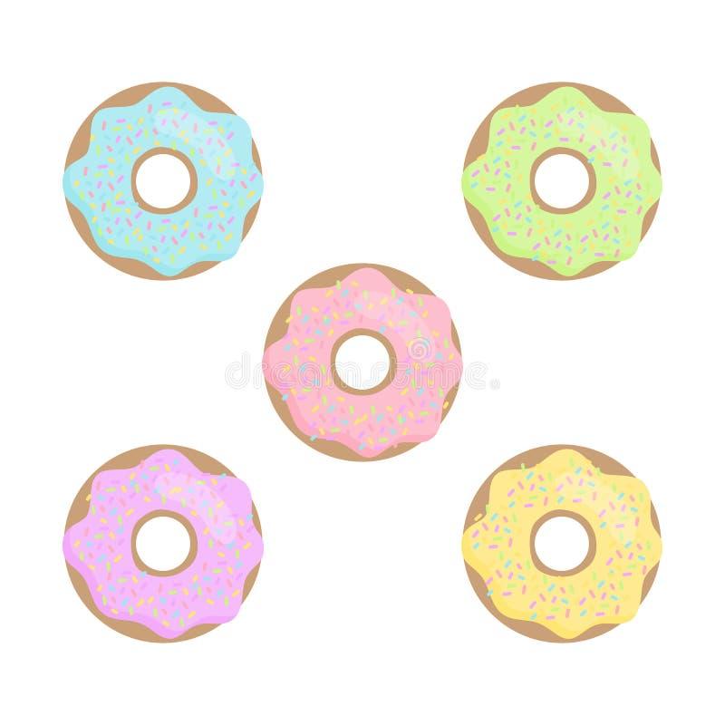 Ζωηρόχρωμο διανυσματικό σύνολο donuts κρητιδογραφιών χαριτωμένο απεικόνιση αποθεμάτων