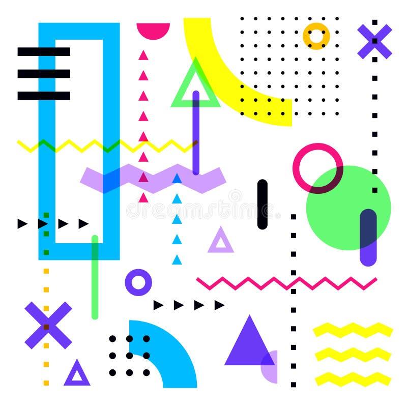 Ζωηρόχρωμο διανυσματικό υπόβαθρο με τις αφηρημένες γεωμετρικές μορφές Στοιχεία σχεδίου ύφους της Μέμφιδας στο άσπρο υπόβαθρο διανυσματική απεικόνιση
