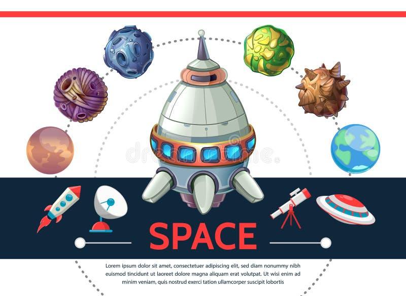 Ζωηρόχρωμο διαστημικό πρότυπο κινούμενων σχεδίων διανυσματική απεικόνιση