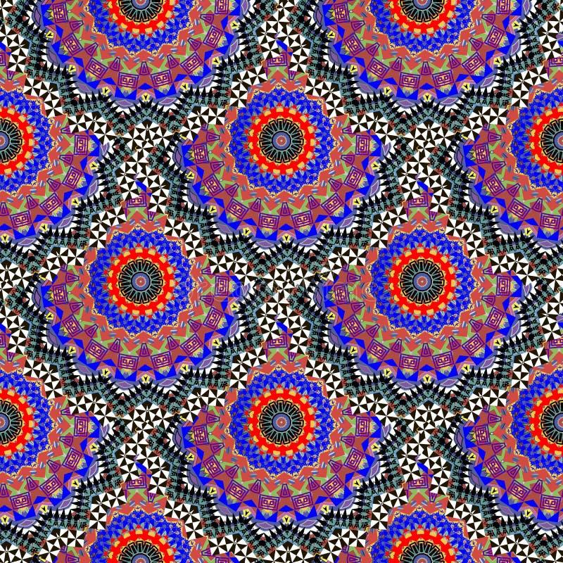 Ζωηρόχρωμο εθνικό floral διανυσματικό άνευ ραφής σχέδιο ύφους Πολύχρωμο διακοσμητικό διακοσμητικό υπόβαθρο Κεραμωμένος γύρω από τ ελεύθερη απεικόνιση δικαιώματος