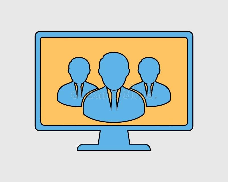 Ζωηρόχρωμο εικονίδιο ομάδας σε απευθείας σύνδεση χρηστών στο γκρίζο υπόβαθρο Διανυσματικό eps διανυσματική απεικόνιση
